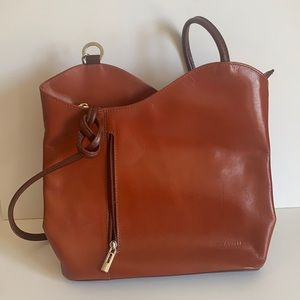 Brown Leather Vera Pelle Bag Convertible Straps